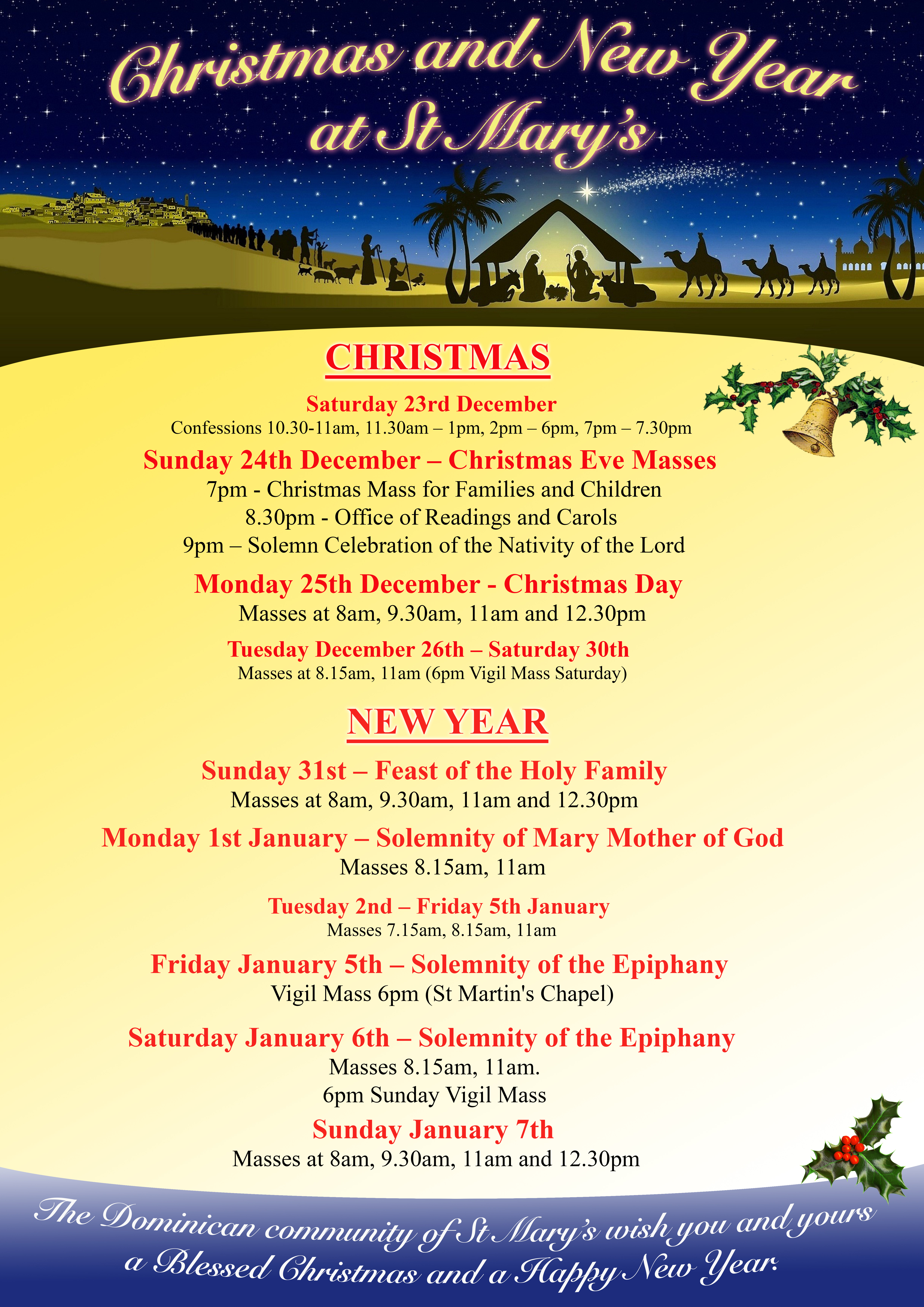 the christmas and new year schedule is now available these dates are also available on the back of our weekly newsletter in the church